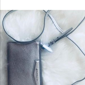 Givenchy silver leather cross body bag